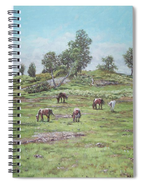 Spiral Notebook featuring the painting New Forest Lyndhurst Hampshire by Martin Davey