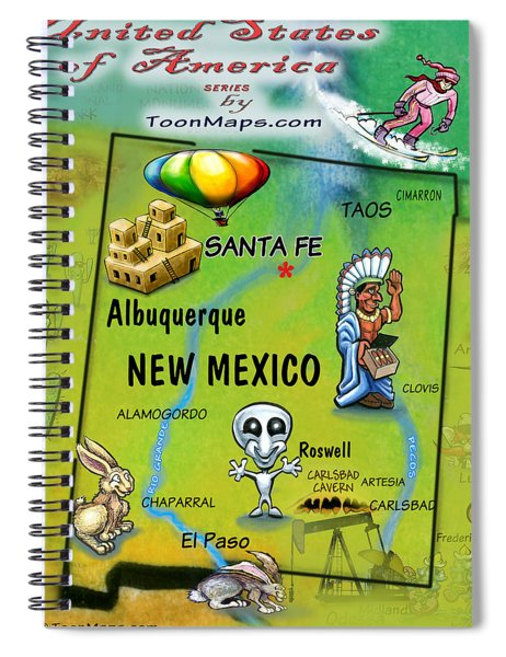 New Mexico Fun Map Spiral Notebook