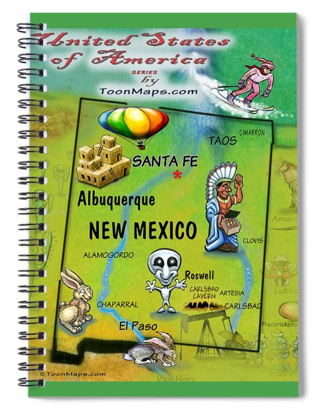 New Mexico Fun Map Spiral Notebook
