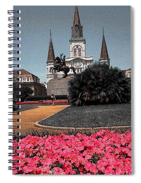 New Orleans Cathedral With Pink Flowers - Louisiana Artwork Spiral Notebook