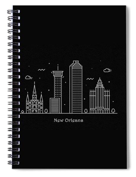 New Orleans Skyline Travel Poster Spiral Notebook