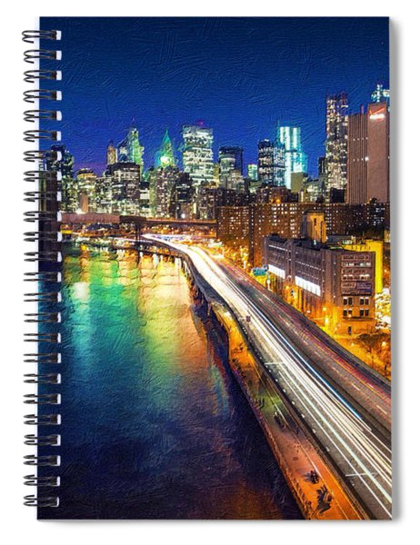 New York City Lights Blue Spiral Notebook