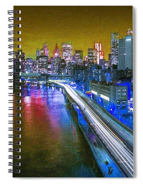 New York City Lights Gold Spiral Notebook