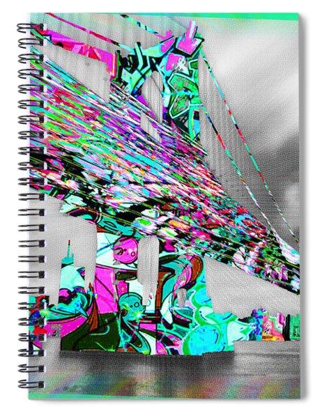 New York City Manhattan Bridge Pure Pop Green Spiral Notebook