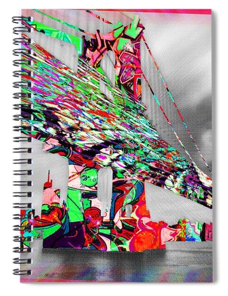 New York City Manhattan Bridge Pure Pop Red Spiral Notebook