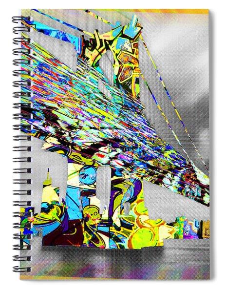 New York City Manhattan Bridge Pure Pop Gold Spiral Notebook