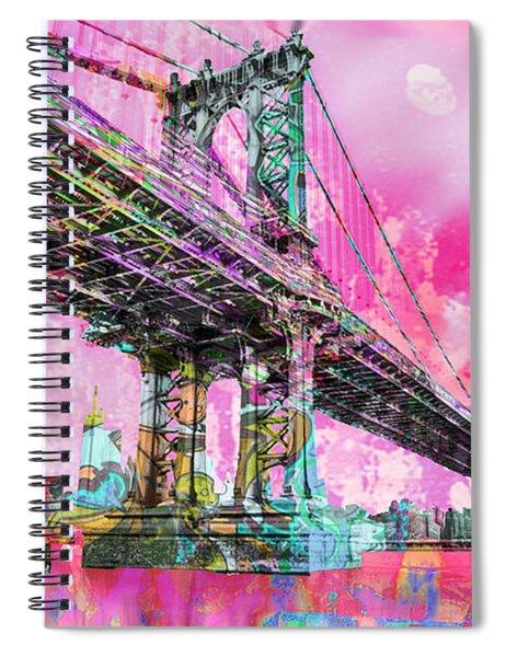 New York City Manhattan Bridge Red Spiral Notebook