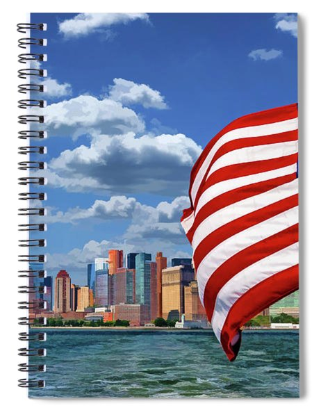 New York City Manhattan Skyline Ferry Flag Spiral Notebook