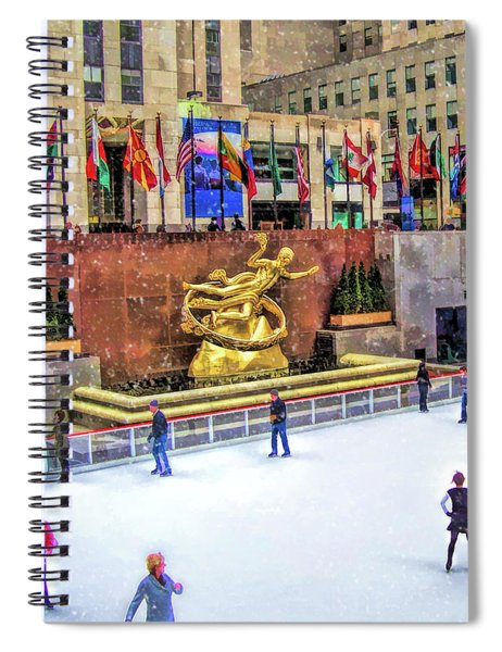 New York City Rockefeller Center Ice Rink Spiral Notebook