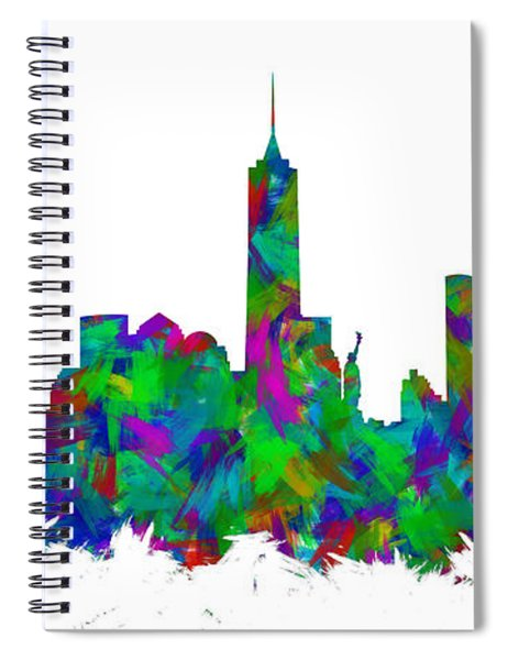 New York City Skyline Abstract Silhouette I Spiral Notebook