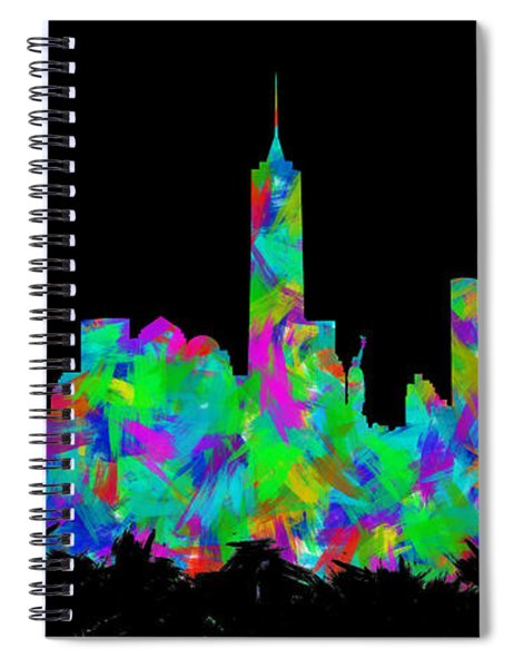 New York City Skyline Abstract Silhouette II Spiral Notebook