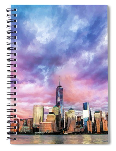 New York City Skyline Sunset Spiral Notebook