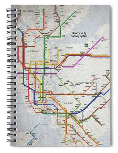 New York City Subway Map Spiral Notebook