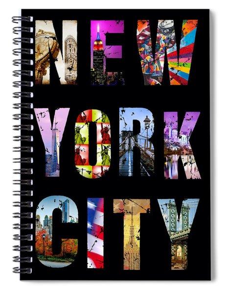 New York City Text On Black Spiral Notebook