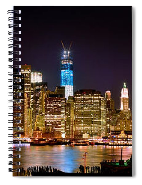 New York City Tribute In Lights And Lower Manhattan At Night Nyc Spiral Notebook