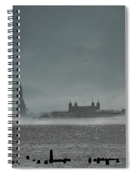 New York Harbor With Fog Spiral Notebook