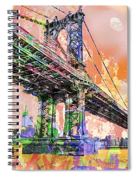 New York City Manhattan Bridge Gold Spiral Notebook