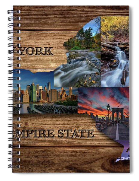 New York State Map Collage Spiral Notebook