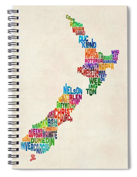 New Zealand Typography Text Map Spiral Notebook