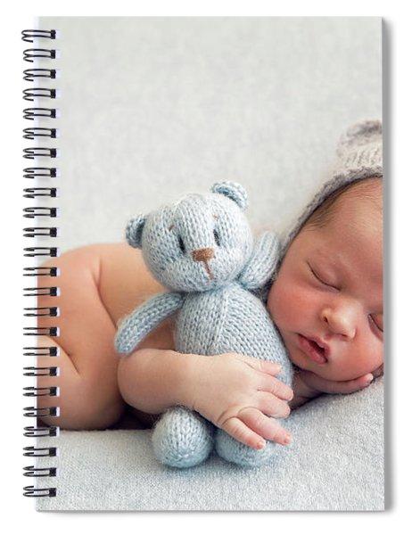 Newborn Boy In A Naked Hat Lies On A Light Blanket Spiral Notebook