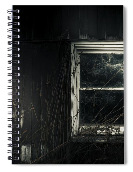 Night Photo Of An Eerie Grunge Window In Moonlight Spiral Notebook