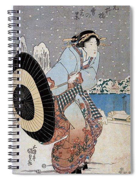 Night Snow Scene At Motonoyanagi Bridge Spiral Notebook
