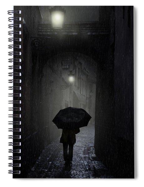 Night Walk In The Rain Spiral Notebook