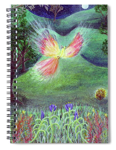 Night With Fire Bird And Sacred Bush Spiral Notebook