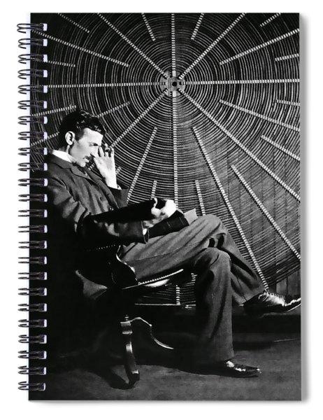 Nikola Tesla And Machine Spiral Notebook
