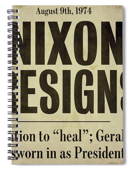 Nixon Resigns Newspaper Headline Spiral Notebook