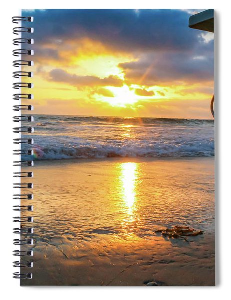 Spiral Notebook featuring the photograph No Lifeguard On Duty by Alison Frank