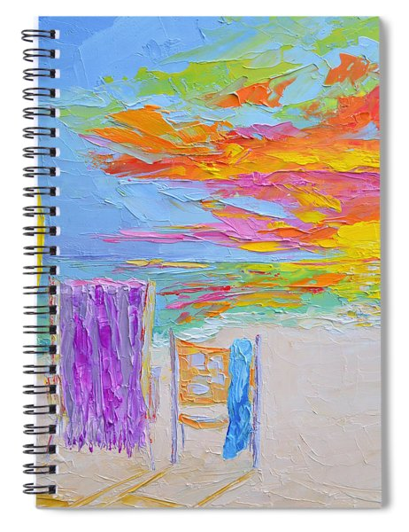 No Need For An Umbrella - Sunset At The Beach - Modern Impressionist Knife Palette Oil Painting Spiral Notebook