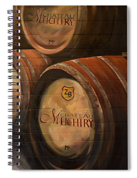 Spiral Notebook featuring the painting No Wine Before It's Time - Barrels-chateau Meichtry by Jan Dappen