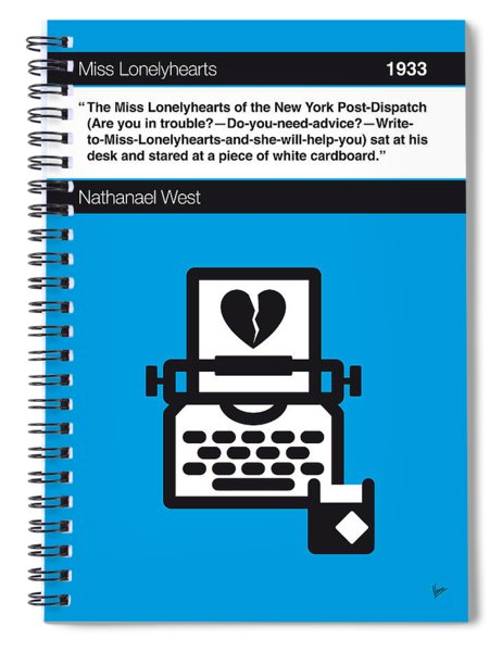 No011-my-miss Lonelyhearts-book-icon-poster Spiral Notebook