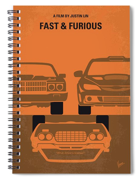 No207-4 My Fast And Furious Minimal Movie Poster Spiral Notebook