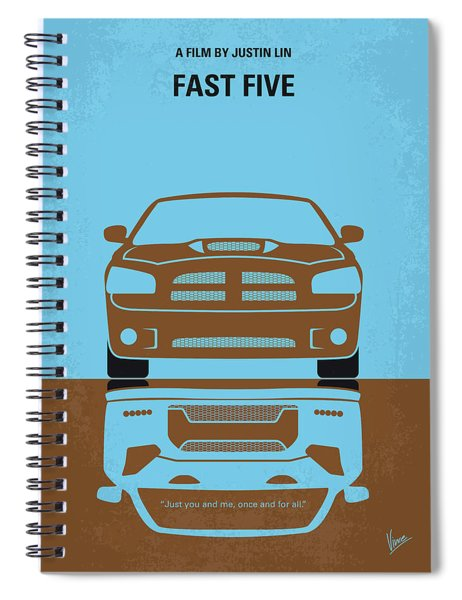 No207-5 My Fast Five Minimal Movie Poster Spiral Notebook