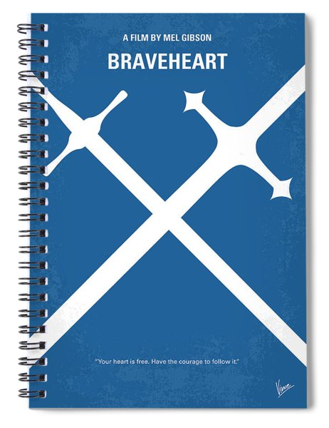 No507 My Braveheart Minimal Movie Poster Spiral Notebook