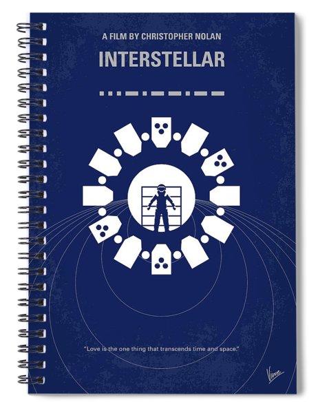 No532 My Interstellar Minimal Movie Poster Spiral Notebook by Chungkong Art