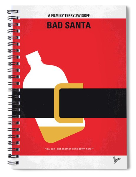 No702 My Bad Santa Minimal Movie Poster Spiral Notebook