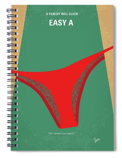 No884 My Easy A Minimal Movie Poster Spiral Notebook