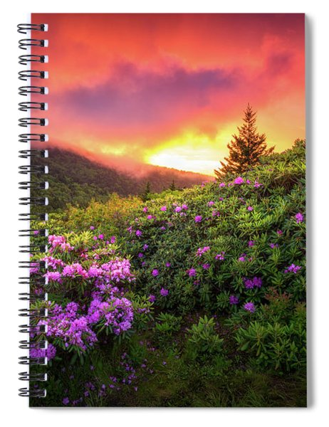 North Carolina Mountains Outdoors Landscape Appalachian Trail Spring Flowers Sunset Spiral Notebook