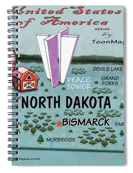 North Dakota Fun Map Spiral Notebook