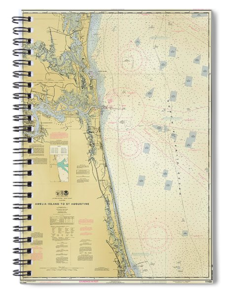 Nautical Soundings Map-antiqued Spiral Notebook