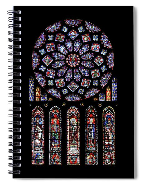 North Rose Window Of Chartres Cathedral Spiral Notebook