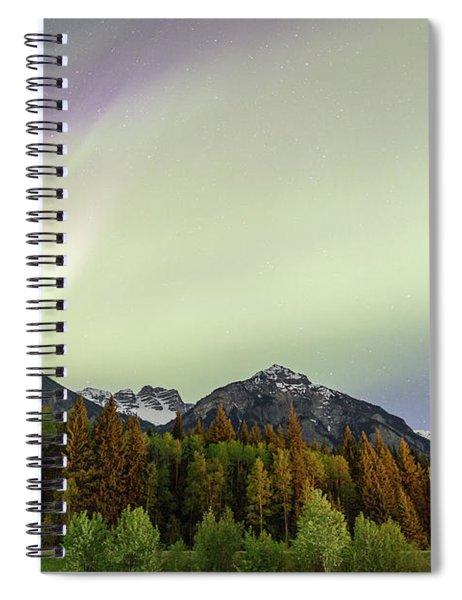 Northern Lights Over Overlander Mountain Spiral Notebook