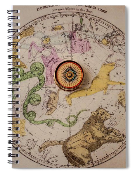 Northern Star Map And Compass Spiral Notebook