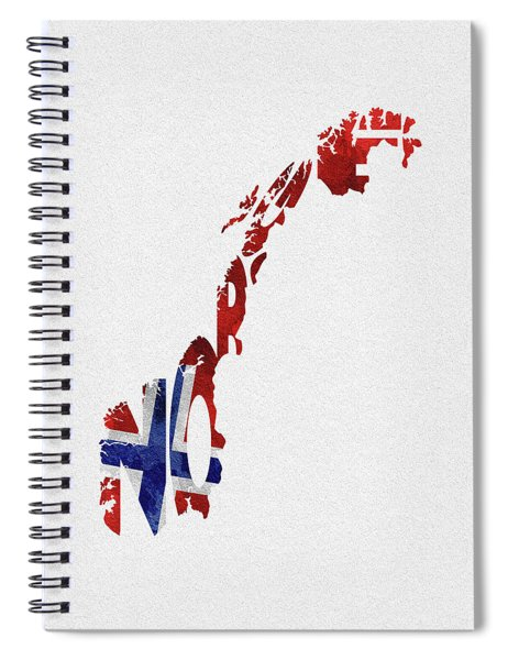 Norway Typographic Map Flag Spiral Notebook