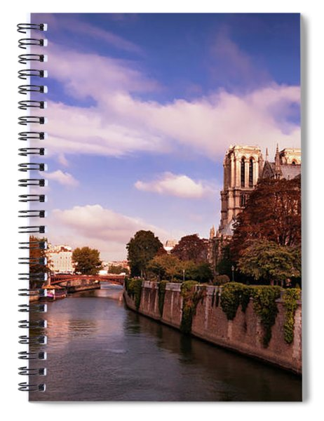 Spiral Notebook featuring the photograph Notre Dame Cathedral And The River Seine - Paris by Barry O Carroll