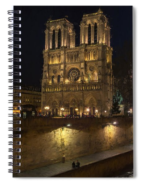 Notre Dame Night Painterly Spiral Notebook
