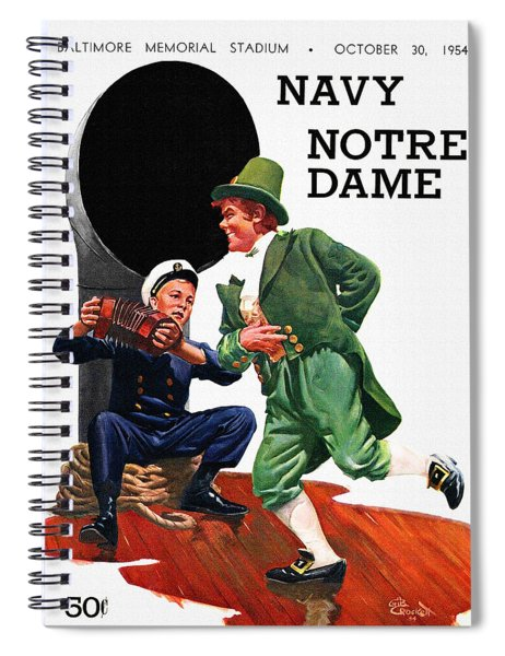 Notre Dame V Navy 1954 Vintage Program Spiral Notebook
